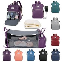Diaper Bags 3 In 1 Foldable Large Capacity Multifunction Bag Portable Crib USB Charge Port Waterproof Travel Mochila
