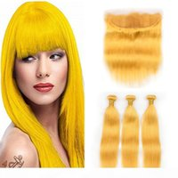 Yellow Color Peruvian Virgin Human Hair Wefts with Free Part Frontal Straight 3Bundles Yellow Hair Weaves with 13x4 Lace Frontal Closure