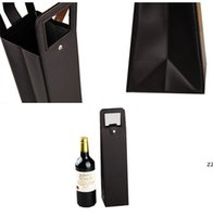 Vinho de couro PU ou garrafa de champanhe sacos de couro de couro único portador de garrafa de vinho hwd10992