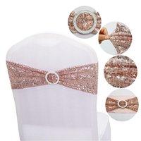 Sashes Quality Блестящие блестки розовые золотые растягивающиеся полосы с круглой пряжкой для свадебных мероприятий для вечеринки украшения Спандекс