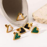 Hoop & Huggie ZAfresh Natural Stone White Shell Green Malachite Black Love Earrings For Women Girls Wedding Jewelry