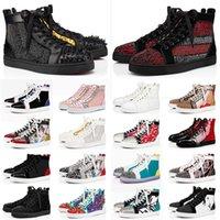 Red Bottoms Com BOX loafers Sapatos casuais Junior Studded Spikes Platform Designers Red Bottoms Sapatos de marca de luxo masculino e feminino tênis tamanho 13