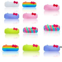 Bolha sensorial Bubble Fidget Brinquedos Silicone Borracha Mão Sacos Crianças Caixa de Lápis de Aprendizagem Bolhas de Dedo Bolhas Puzzle Bolsas Hwe9196