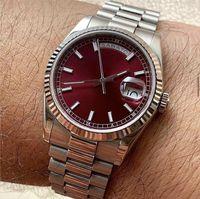 판매 우선 순위 남성용 시계 체리 레드 다이얼 돋보기 캘린더 주 날짜 럭셔리 버전 V3 시리즈 자동 기계 사파이어 유리 망 손목 시계