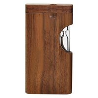 2021 Natürliches Holz-Dugout-Stash-Case-Box mit klarem Glas ein Hitter-Rohrfleder-tragbares Holz-Tabak-Dugout-Gehäusezubehör