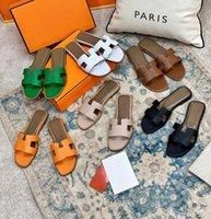 2021 Tasarımcı Kadın Sandalet Bayanlar Lüks Hakiki Deri H Terlik Düz Ayakkabı Oran Sandal Parti Düğün Ayakkabı ile Kutusu Boyutu 35-42