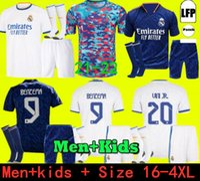 Top Thailand Benzema Real Madrid Jerseys 21 22 팬 플레이어 버전 축구 축구 셔츠 Alaba 위험 Casemiro Modric Marcelo Camiseta Men + 키즈 키트 세트 2021 2022