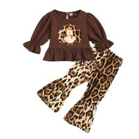 Kids Clothing Sets Girls Outfits Baby Clothes Spring Autumn Thanksgiving Embroidered Polka Dot Leopard Print Tops Blouses Flared Pants 2Pcs B8267