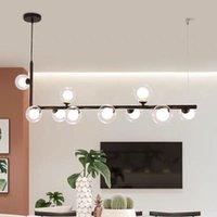 Nórdico interior LED araña iluminación moderna restaurante nakajima tira lámpara decoración oro / negro bar cafetería vidrio chandeliers