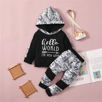 Clothing Sets 1-5 Years Boys 2pcs Fall Outfits Letter Print Patchwork Long Sleeve Hoodies Pants Set Infant Spring Autumn Sportswear