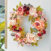 Dekoracyjne kwiaty Wieńce 2021 Rose Peonia Garlands String Lights Fairy Christmas Girland na Wedding Party Decoration
