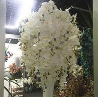 9 Head Artificiale Farfalla Orchidea Fiore di Seta Glicine Phalaenopsis 93cm Casa lunga Casa Giardino Partito Decorazione di nozze Fiori cena Centrata Centrotavola Decorazione FAI DA TE Rattan