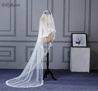 Bridal Veils 3.5M Long Red Cathedral Wedding Muslim Style Gold Lace Appliques High Quality Tulle Elegant Accesorios Mujer