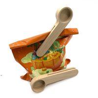 Дизайн деревянный кофе совок с сумкой зажим столовые ложки твердой буковой древесины измерения чайной фасоли ложки клипы подарок OWE8682