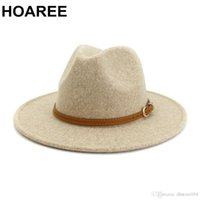 HOAREE Beige Wool Fedora Hat for Woman British Style Mens Fedora Hat with Belt Casual Unisex 2020 New Fall Winter Wide Brim Hat