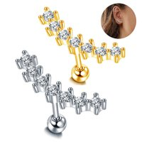 Designer Rings 1PC Zircon Stainless Steel Women's Ear Bone Nail Screw ring Piercing Jewelry Lip Ring