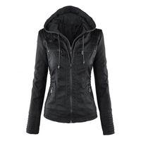 New Women Restore Winter Faux Soft Leather Coats Lady Black Pu Rits Epaule Motorcycle Streetwear