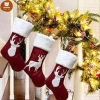 Classic Christmas Stockings Gift Toy Holder Ornament For Family Holiday Xmas Party accessory Hanging Decoration zzs