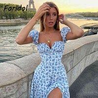 FORIDOL Blumendruck Sommerkleid Frauen Boho Slit Maxi langes Kleid Vintage Strandkleid Puffhülle A-line Blau Sommerkleid 2021 210323