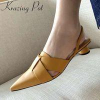 Красивый горшок с полным зерном кожа заостренный носок женщин сандалии задний ремешок слингбес высокие каблуки твердые простые стиль мода обувь L88 E6OC #