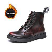 Boots 2021 Retro Genuine Leather Ankle Women Warm Plush Shoes Low Top Booties Block Heels Footwear Winter Motorcycle