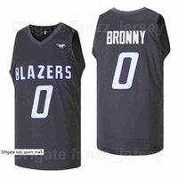 남성 영화 고등학교 # 0 Bronny James Jersey Sierra Canyon Blazers 팀 색상 블랙 멀리 스포츠 팬을위한 통기성 힙합 우수한 품질 판매