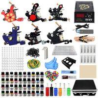 Complete Tattoo Set Coil Machine Kit Shading Liner Power Supply Needles Professional Beginner Guns Kits1
