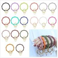 DHL 17 Colors Silicone Keychain Bangle Keychain Bracelets Keyring O Shaped Wristlet Bracelet Circle Charm Key Ring Holder Wristbands CS30
