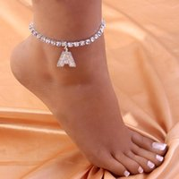 Anklets Crystal Woman A-Z Initial Foot Chain Bracelet On The Leg Wholesale Boho Pendant Anklet Letter Jewelry Sandals Women 2021