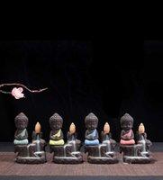 Creative Personality Small Buddha Reflow Incense Burner Purple Sand Monk Incense Burner Mini Ceramic Ornament Fragrant Hill