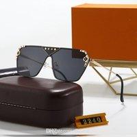 2021 망원을위한 클래식 브랜드 선글라스 2240 럭셔리 디자인 안경 안경 금속 골드 블랙 프레임 유리 렌즈 선글라스 디자이너 태양 안경 라운드 안경