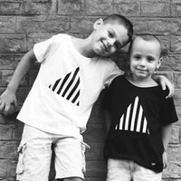 Fashion Pure Cotton T-shirts For Little Boy Girl Printing Black White Short Sleeve Tees Summer Toddler Kids Cute Small Tops Soft Children's Clothing 1-7Y