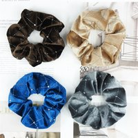 Flannelette Dame Girl Hairing Scrunchies Exquisite Mode Accessoires Haarband Elastische Rhinestone Plaid Band 1Fr F2