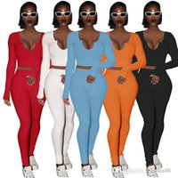 Women Designers Clothes 2021 Rib Knitted Tracksuits 2 Two Piece Outfits New Fall Winter V-neck Thread Long Sleeve Pants Jogger Set