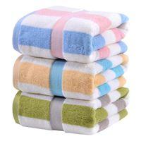 Toalha de banho puro cor de algodão listrado toalhas de banho de espessura espessa toalhas de lã de coral Toalhas de banho de toalhas de veludo envoltório de corpo roubo roupão roupão de banho rápida hhc6631