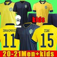 Fan Player Versione 2021 Svezia Jersey di calcio Casa a distanza Ibrahimovic Kulusevski Berg Forsberg Larsson Tankovic Isak Claesson Camicia da calcio Uomo + Bambini