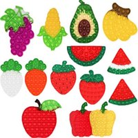 20 Style Fruits And Vegetables Fidget Toys for Children Adults Kawaii Fidget Toy Kids Fun Push Bubble down Anti stress toy Girls Boys