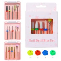 Nail Files Christmas 5 In 1 Tungsten Steel Caremics Sanding Polishing Removing Cuticle Drill Bits Manicure Brush Grinding Head Set