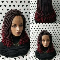 Handmade 14inch Box Braids Lace Front Wig With Curly Tips 1b Burgundy Ombre Red Color Short Braiding Hair Synthetic Wigs for Black Women