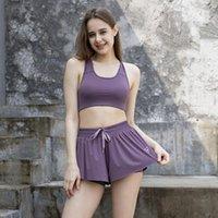 Women's Tracksuits 2PCS Summer Sport Set Women Two Piece Bra Shorts Crossfit Vest Fitness Suit Casual Tennis Athletic Biker Yoga