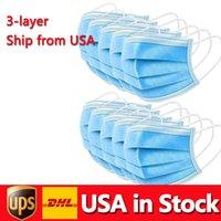 USA Auf Lager Einwegmaske dicker 3-Schicht-Schutz und persönliche Gesundheit mit Holousinen-Mund-Sanitärmasken