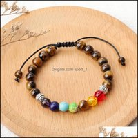 Beaded, Strands Jewelry 8Mm Natural Stone Tiger Eye Bracelets For Women Men 7 Chakra Bead Healing Braid Mens Bracelet Rope Adjustable Friend
