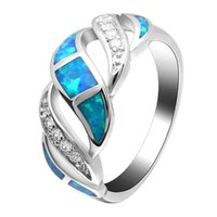 Wedding Rings Hainon Vintage Twist Cross Silver Color Fire Opal Promise Jewelry Blue Natural Stone Cubic Zircon Engagement Ring