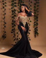 Plus Size Black Evening Dresses Sexy Illusion Lace Beaded Sheer Neck Mermaid Prom Dress Formal Party Second Reception Gowns Robe de mariée