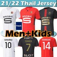 21/22 Rennes Stade Rennais Futebol Jerseys 120th Aniversário 2021 2022 Camavinga Guirassy Bourigeud Adulto Homens Kits Kits + Meias Full sets Jersey Football