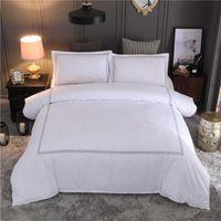 Warmsliving El Bearding Set Queen / King Size White Color Вышитые дождевые наборы наборы EL кровать льняной комплект постельного белья наволочка T200517