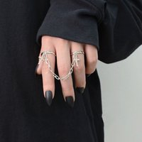 Punk Hip-Hop Cross Ring Hand Silver Color Plated Retro Finger Chain Adjustable Rings Party Jewelry Gift for Unisex