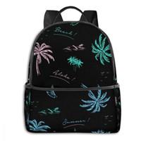 حقيبة الظهر الملونة النامى شجرة شجرة الشاطئ والمحيط الصبي فتاة مدرسة حقيبة مدرسية للمراهق طالب الكتف السفر