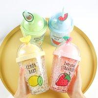 الإبداعية الفاكهة الجليد جزيئات كأس الاطفال زجاجة المياه لطيف نوع القش مع غطاء البلاستيك 380ML مزدوجة الجدار drinkware إبريق
