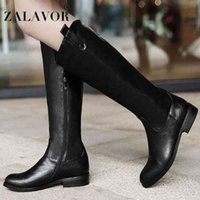 ZALAVOR Women Fashion Knee High Boots Winter Keep Warm Short Plush Side Zipper Footwear Size 34 43 Shoes For Sale Cheap Cowgirl Boots From ,